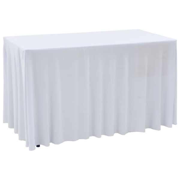 vidaXL Huse de masă elastice, 2 buc., alb, 183 x 76 x 74 cm