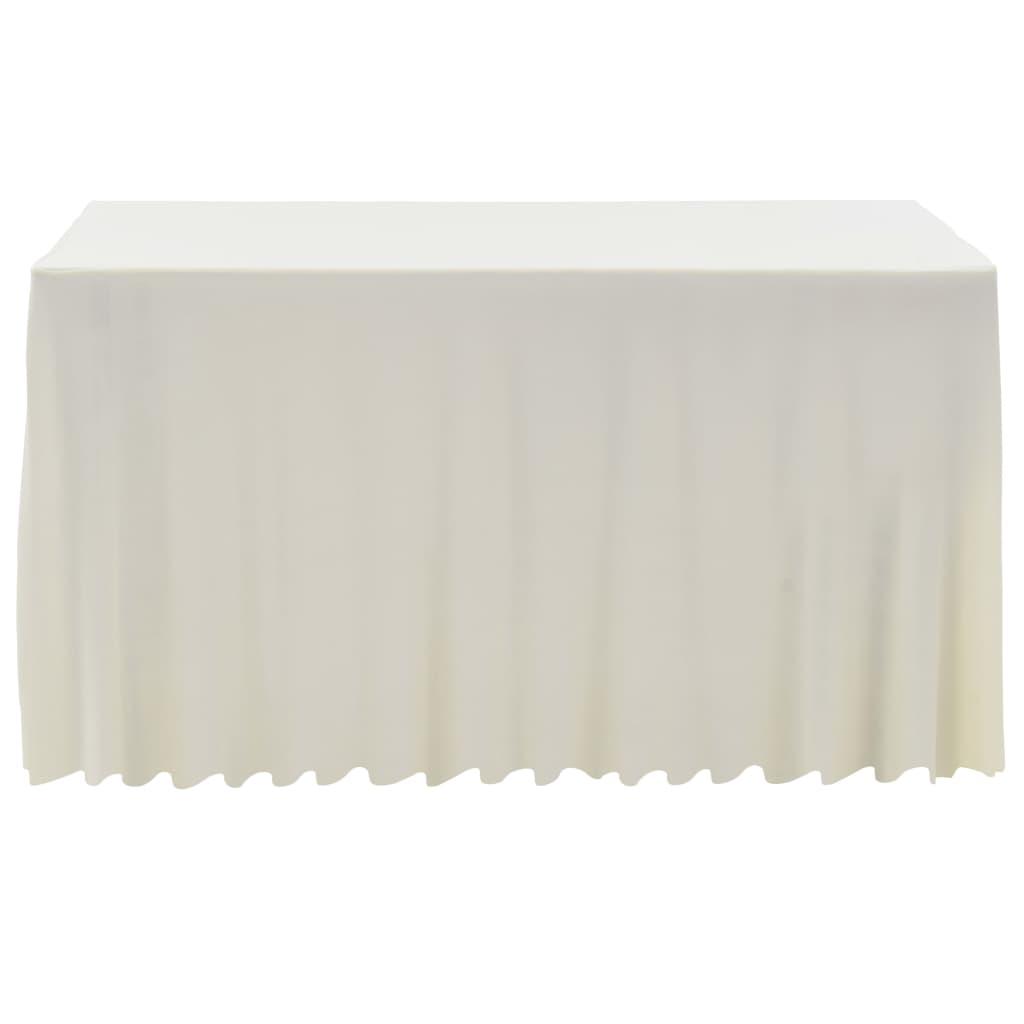 Huse elastice masă lungi, 2 buc., crem, 243 x 76 x 74 cm