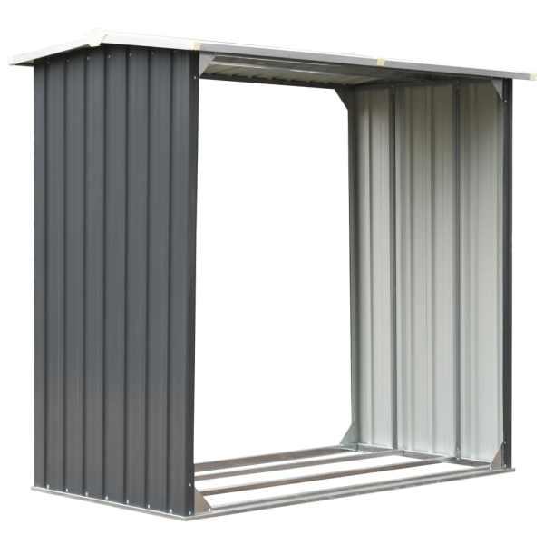 Șopron depozitare lemne, oțel galvanizat, 172x91x154 cm, gri