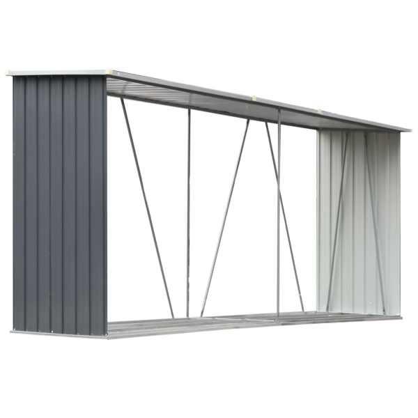 vidaXL Șopron depozitare lemne, oțel galvanizat, 330x84x152 cm, gri