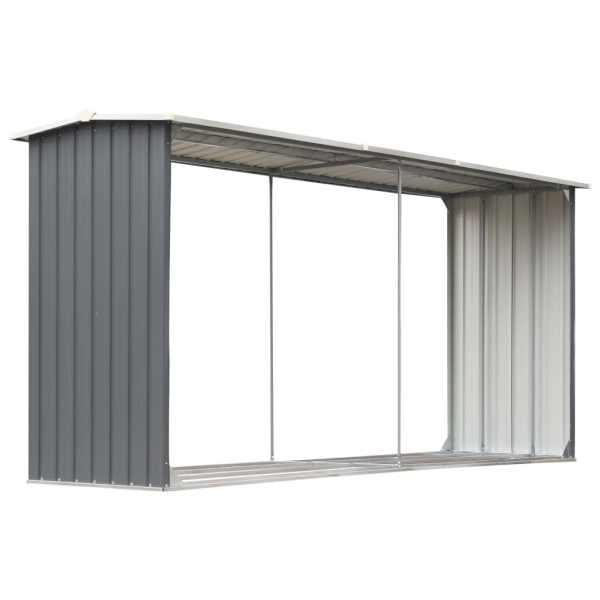 Șopron depozitare lemne, oțel galvanizat, 330x92x153 cm, gri