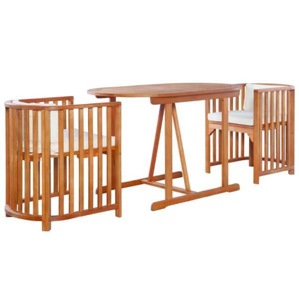vidaXL Set bistro cu perne, 3 piese, lemn masiv de eucalipt
