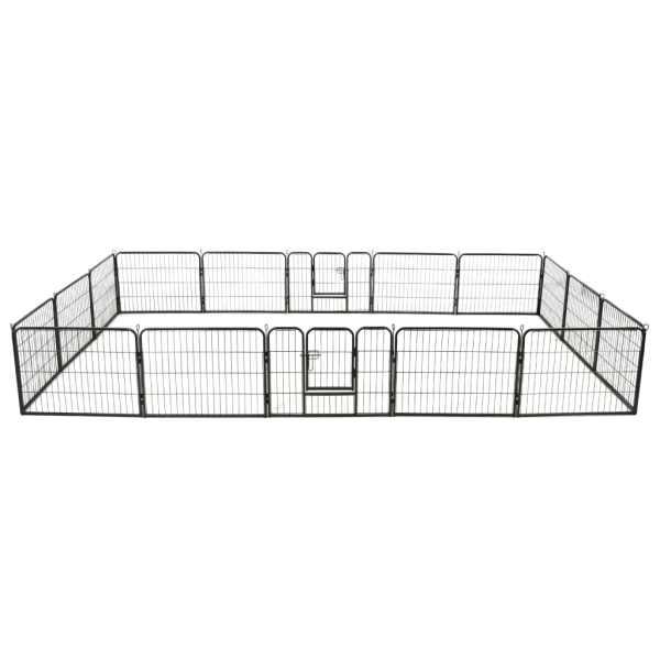 vidaXL Țarc pentru câini, 16 panouri, oțel, 60 x 80 cm, negru