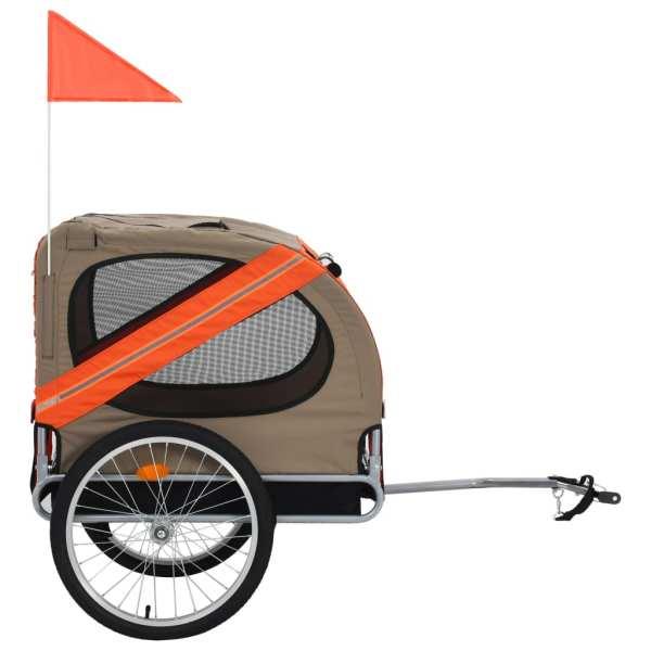 vidaXL Remorcă de bicicletă pentru câini, portocaliu și maro