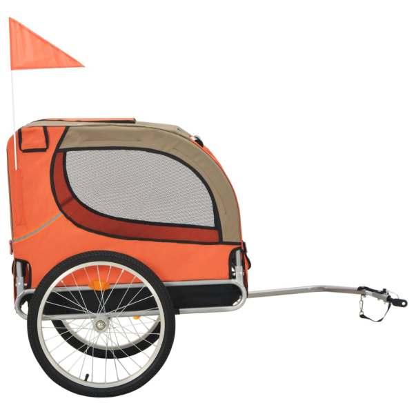 Remorcă de bicicletă pentru câini, portocaliu și maro