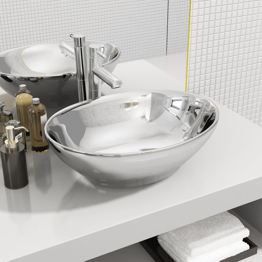 vidaXL Chiuvetă de baie, argintiu, 40 x 33 x 13,5 cm, ceramică