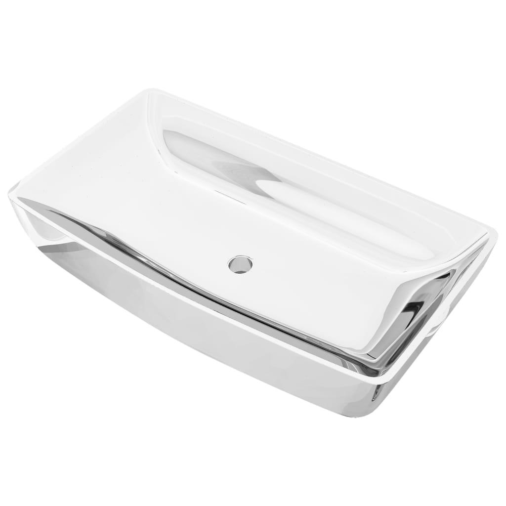 vidaXL Chiuvetă de baie, argintiu, 71 x 38 x 13,5 cm, ceramică