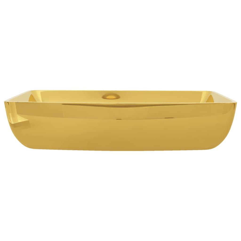 Chiuvetă de baie, auriu, 71 x 38 x 13,5 cm, ceramică