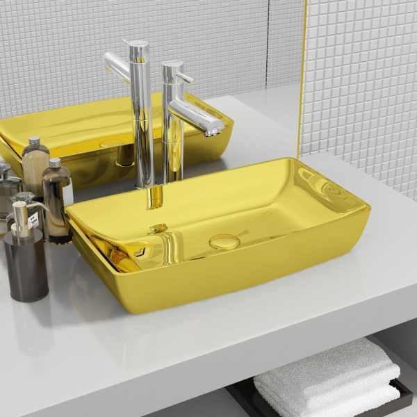 vidaXL Chiuvetă de baie, auriu, 71 x 38 x 13,5 cm, ceramică