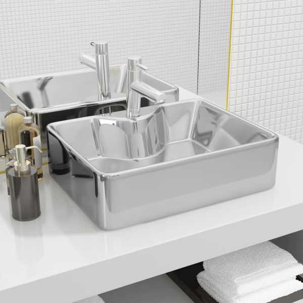 vidaXL Chiuvetă cu orificiu robinet, argintiu, 48x37x13,5 cm, ceramică