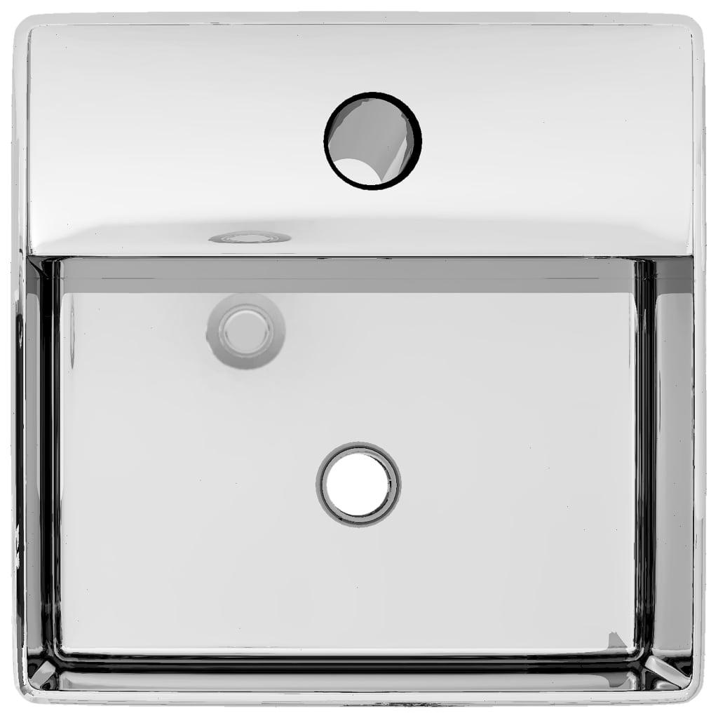 Chiuvetă cu orificiu robinet argintiu 38x30x11,5 cm ceramică
