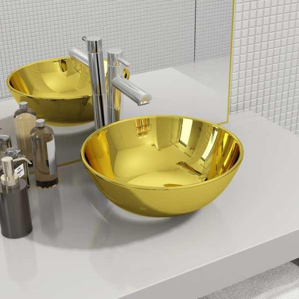 vidaXL Chiuvetă de baie, auriu, 28 x 10 cm, ceramică