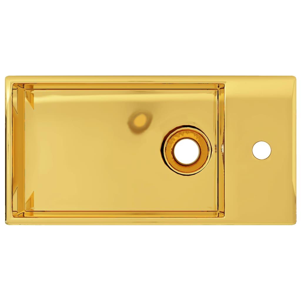 Chiuvetă cu preaplin, auriu, 49 x 25 x 15 cm, ceramică
