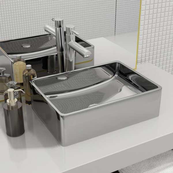 vidaXL Chiuvetă de baie, argintiu, 41 x 30 x 12 cm, ceramică