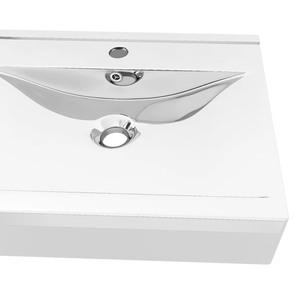 Chiuvetă cu preaplin, argintiu, 60x46x16 cm, ceramică