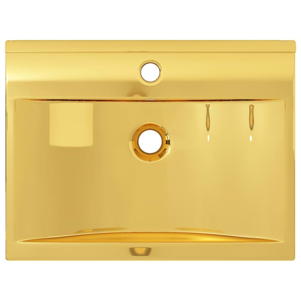 Chiuvetă cu preaplin, auriu, 60x46x16 cm, ceramică