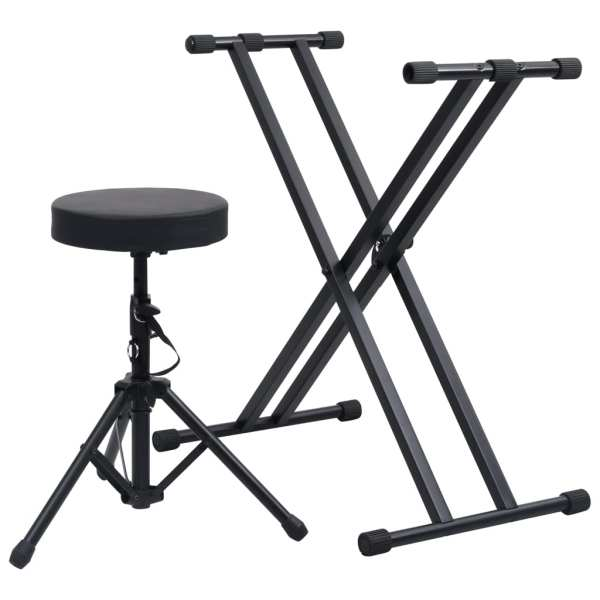 vidaXL Set suport de claviatură dublu și taburet, negru