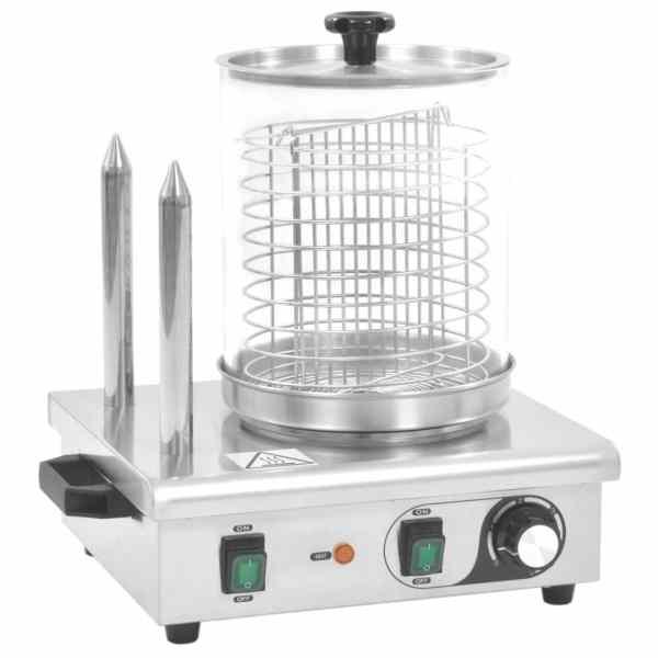vidaXL Aparat de încălzit hot dog cu 2 țepușe, oțel inoxidabil, 500 W