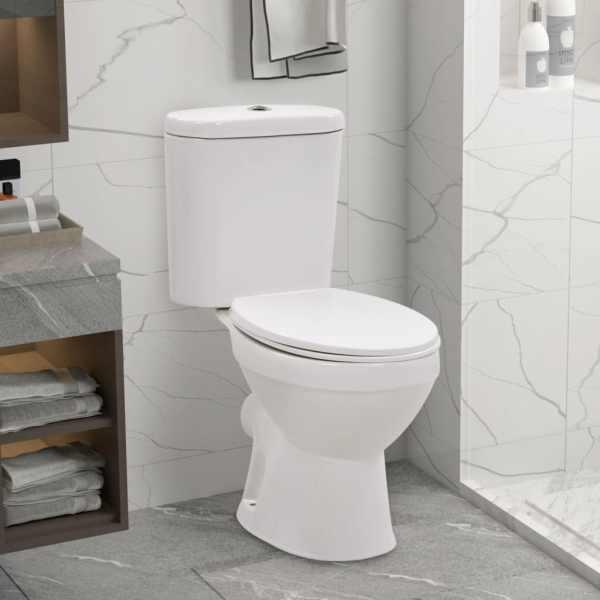 vidaXL Vas de toaletă cu rezervor, colac silențios, alb, ceramică
