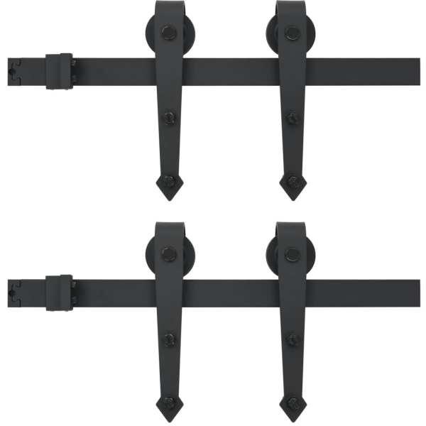 vidaXL Set piese pentru uși glisante, negru, 2 x 183 cm, oțel