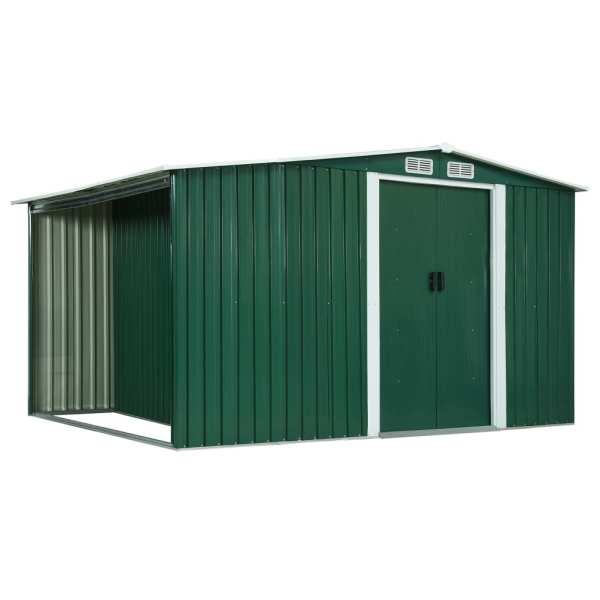 vidaXL Magazie de grădină cu uși glisante verde 329,5x131x178 cm oțel