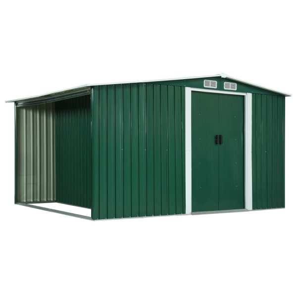 vidaXL Șopron de grădină cu uși glisante verde 329,5x205x178 cm oțel
