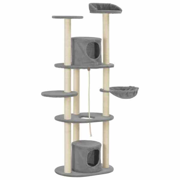 vidaXL Ansamblu pentru pisici cu stâlpi din funie sisal, gri, 160 cm