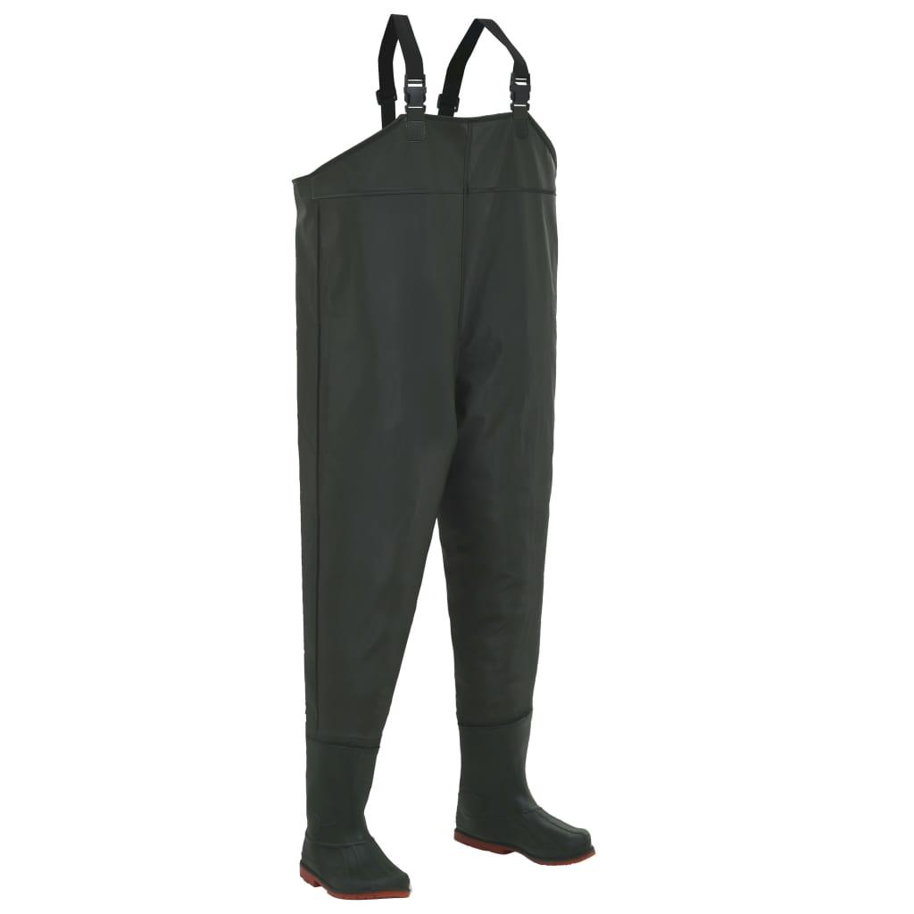 vidaXL Pantaloni de vânătoare cu cizme, verde, mărime 39