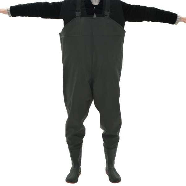 vidaXL Pantaloni de vânătoare cu cizme, verde, mărime 40
