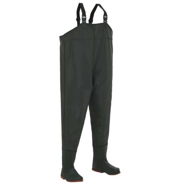 vidaXL Pantaloni de vânătoare cu cizme, verde, mărime 45