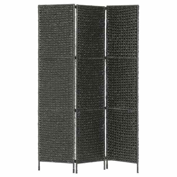 vidaXL Paravan cameră cu 3 panouri, negru, 116×160 cm, zambilă de apă