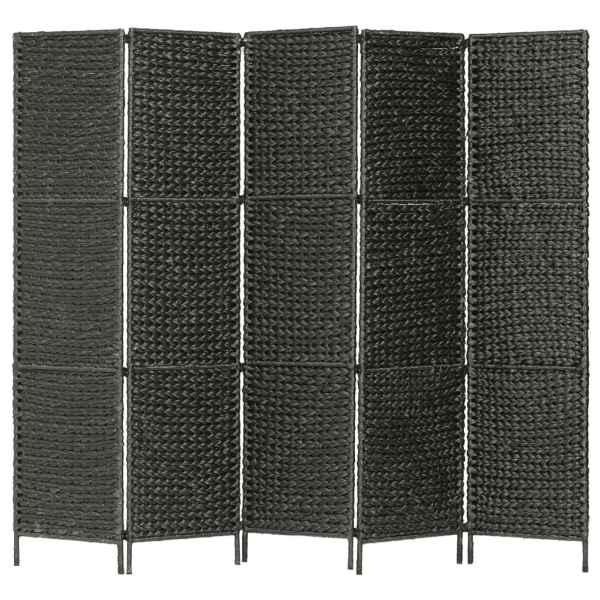 vidaXL Paravan cameră cu 5 panouri, negru, 193×160 cm, zambilă de apă