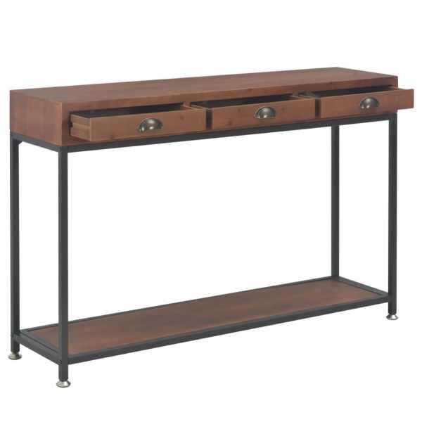 Masă consolă cu 3 sertare, 120x30x76 cm, lemn masiv de brad