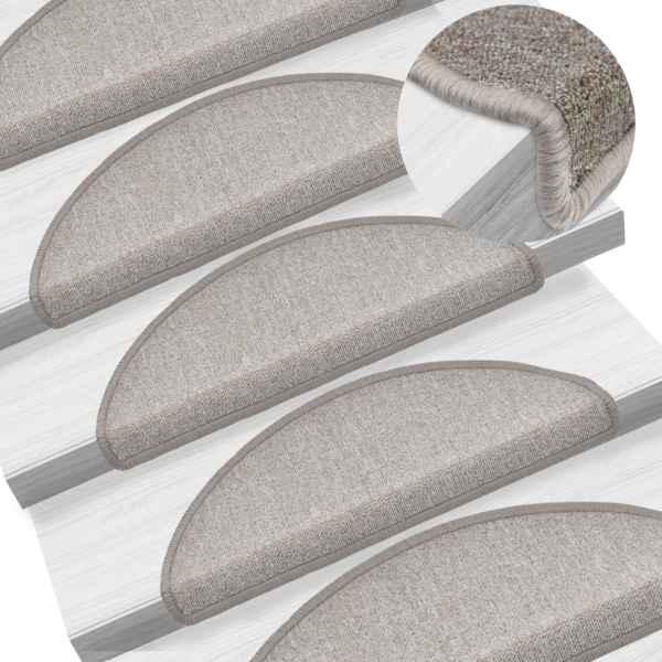 vidaXL Covorașe de scări, 15 buc, gri taupe, 65 x 24 x 4 cm