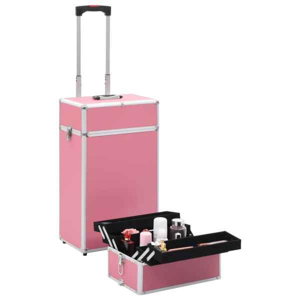 vidaXL Troler de cosmetice, roz, aluminiu