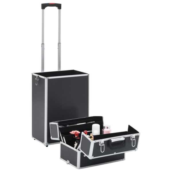 vidaXL Troler de cosmetice, negru, aluminiu