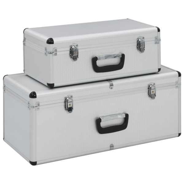 vidaXL Cutii de depozitare, 2 buc., argintiu, aluminiu