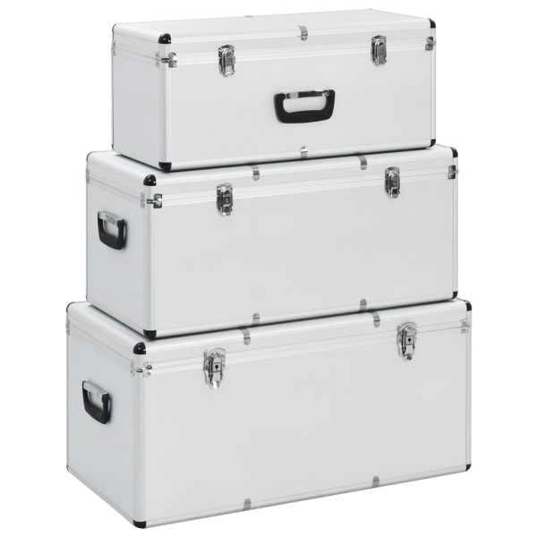 vidaXL Cutii de depozitare, 3 buc., argintiu, aluminiu