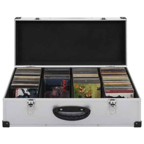 vidaXL Carcasă pentru 80 CD-uri, aluminiu, ABS, argintiu