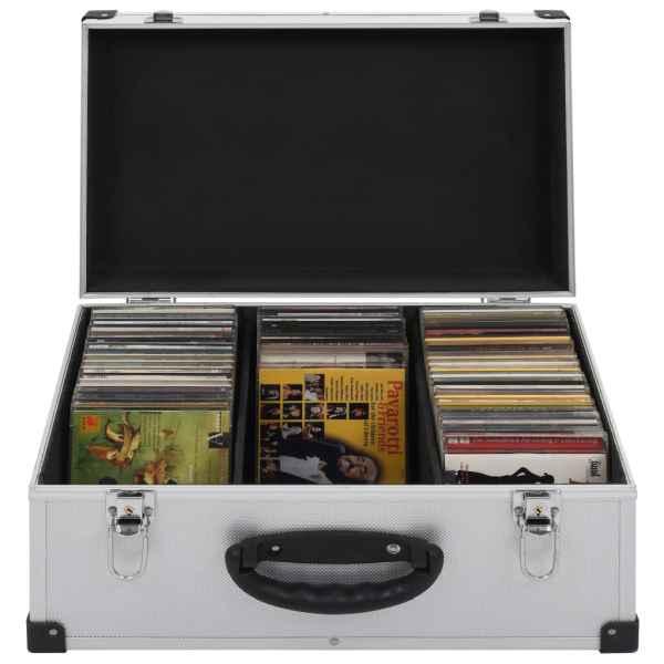 vidaXL Casetă pentru 60 CD-uri, argintiu, aluminiu ABS