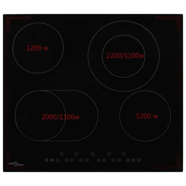 Plită ceramică cu 4 arzătoare, control tactil, 6600 W