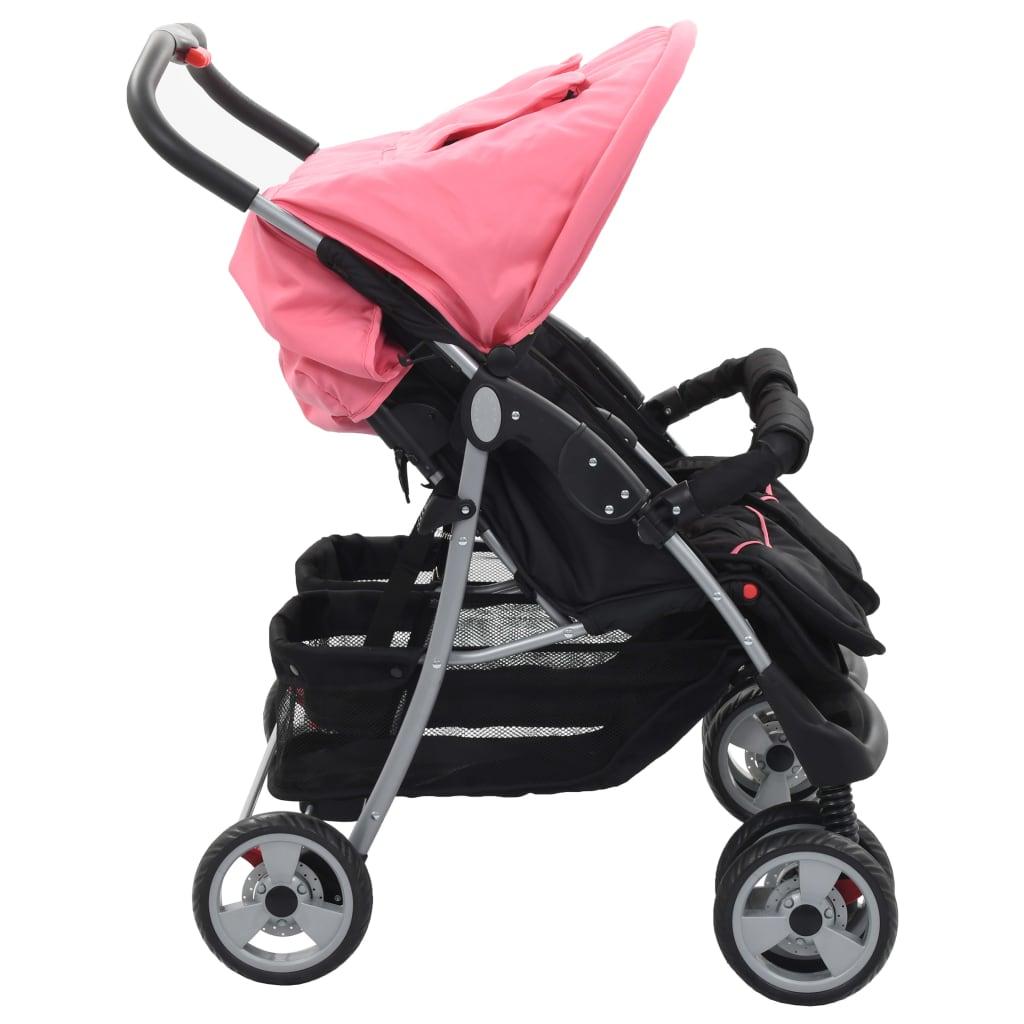 Cărucior dublu pentru copii, roz și negru, oțel