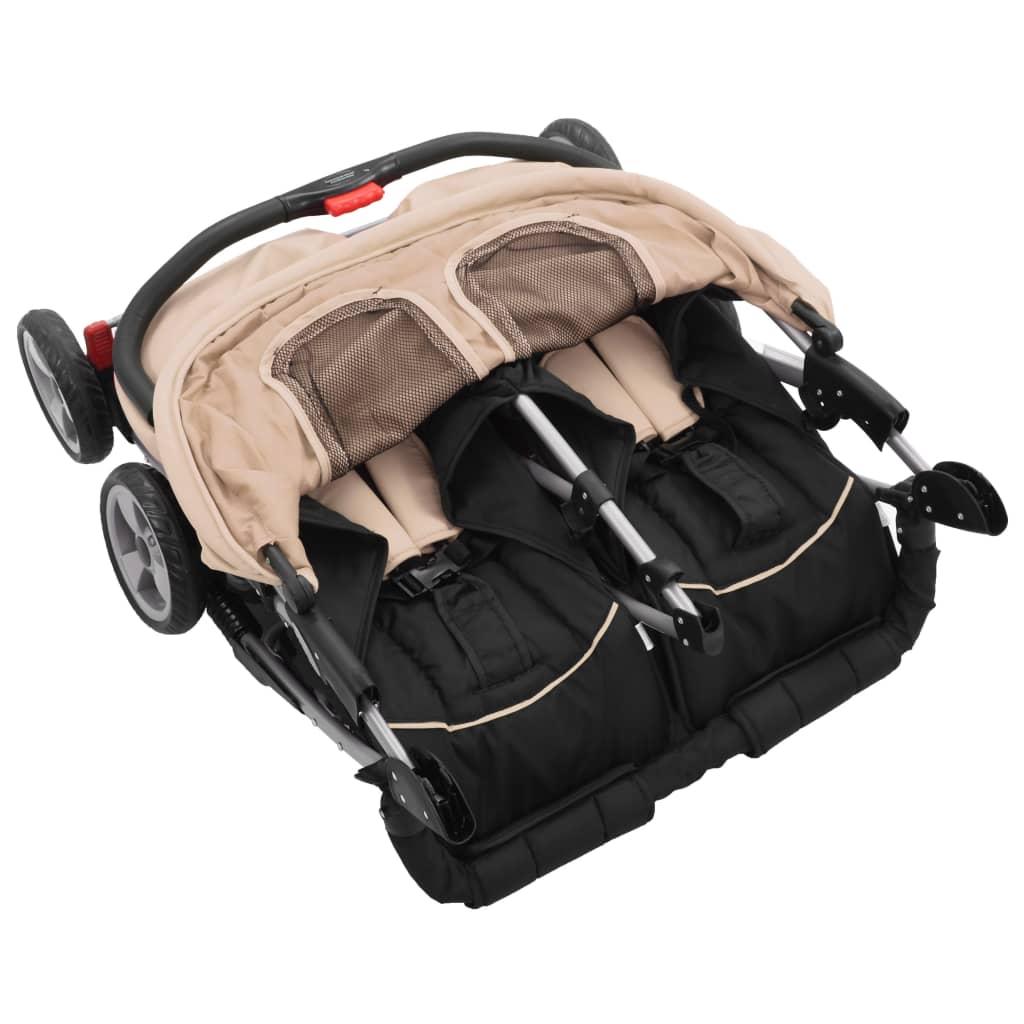 vidaXL Cărucior dublu pentru copii, gri taupe și negru, oțel