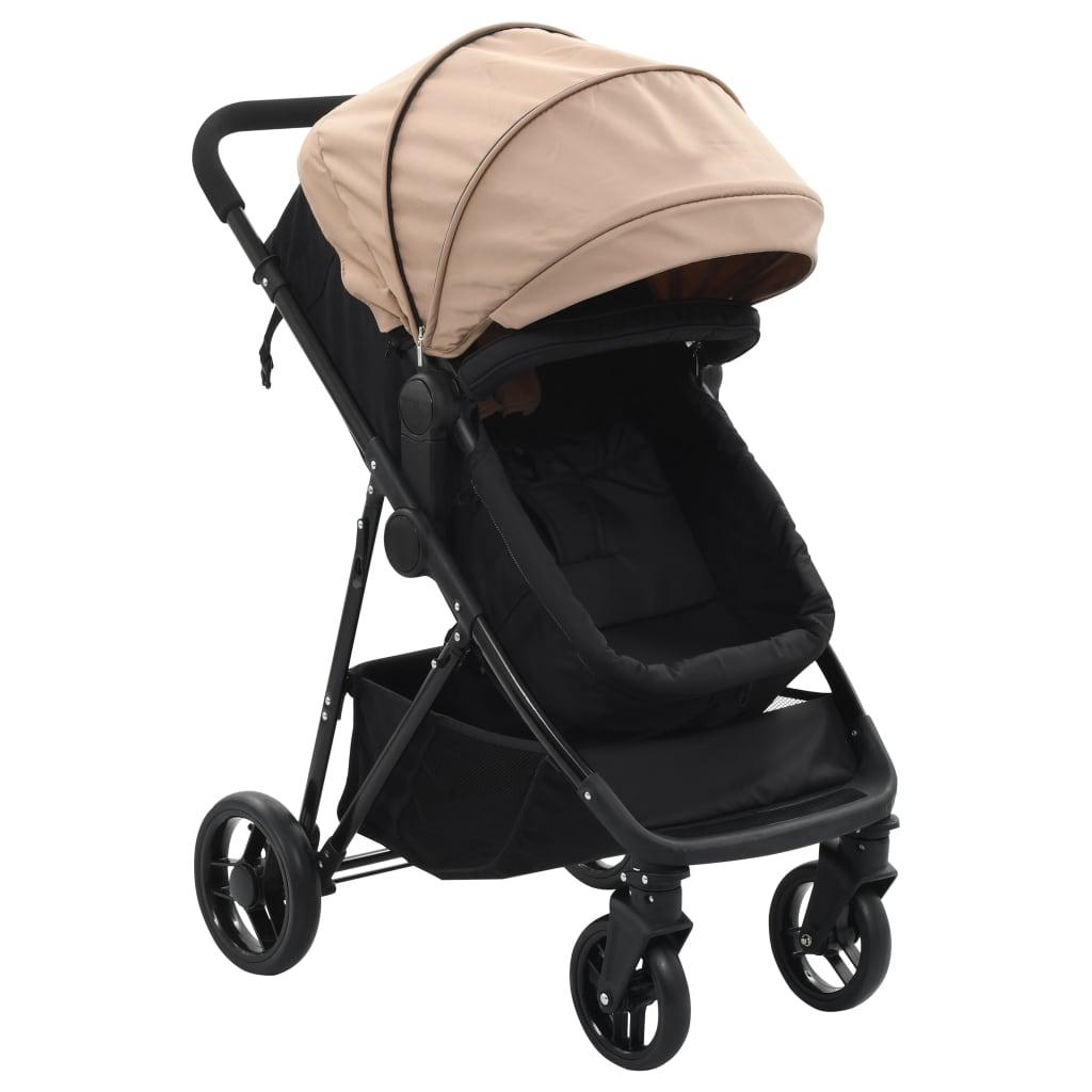 vidaXL Căruț/landou pentru copii 2-în-1, gri taupe și negru, oțel