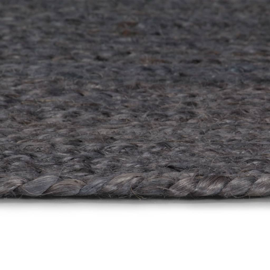 Covor manual, gri închis, 150 cm, iută, rotund