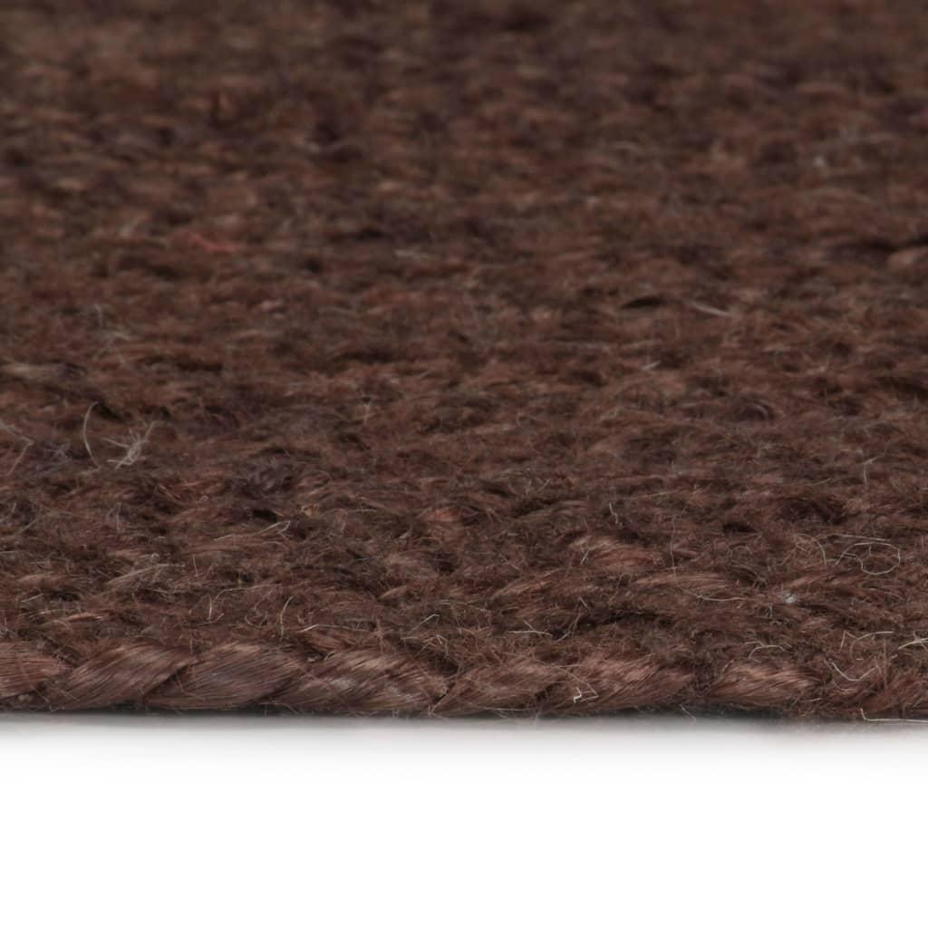 Covor manual, maro, 90 cm, iută, rotund