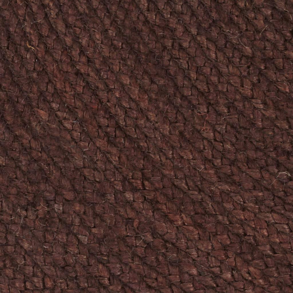 Covor manual, maro, 150 cm, iută, rotund