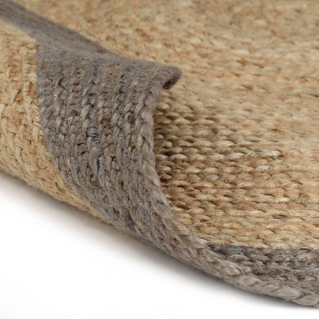 vidaXL Covor manual cu margine gri, 120 cm, iută