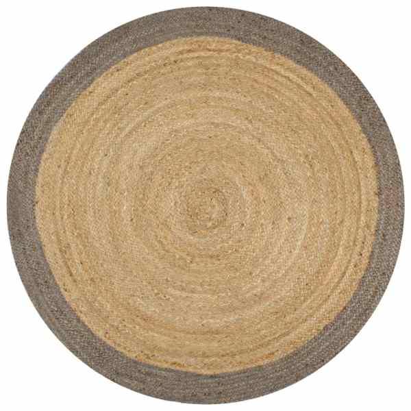 vidaXL Covor manual cu margine gri, 150 cm, iută