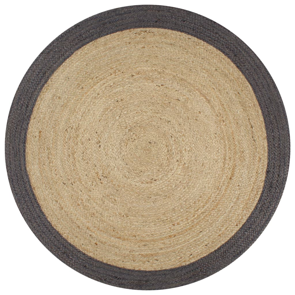 vidaXL Covor manual cu margine gri închis, 90 cm, iută